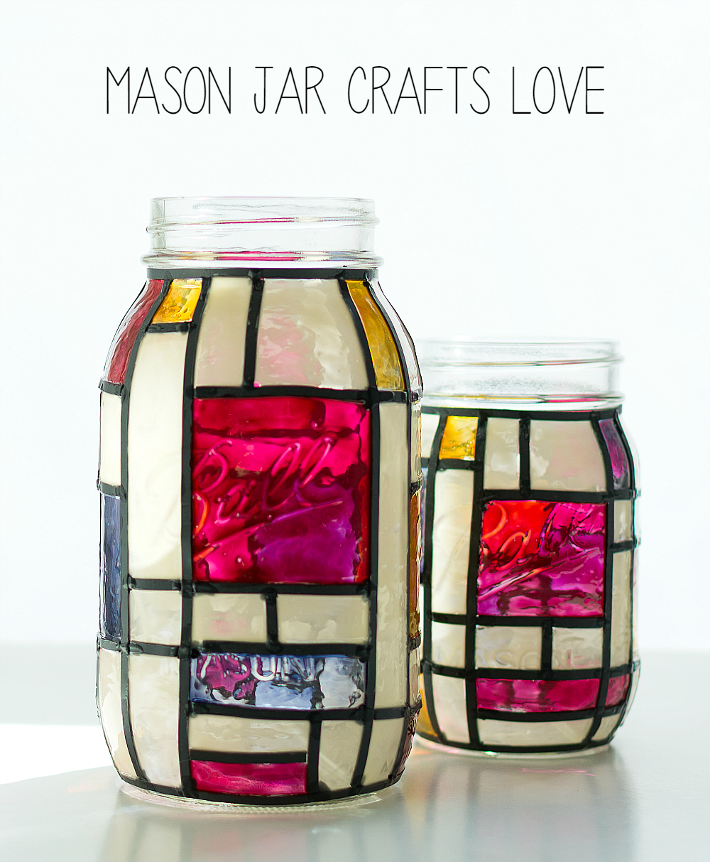 Mondrian Mason Jars - Mason Jar Crafts Love